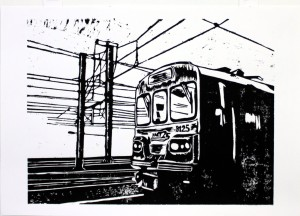 'Transport 21' Woodblock Print  35 x 50 cm