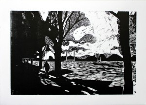 'The Playing Fields' Woodblock Print  70 x 50 cm