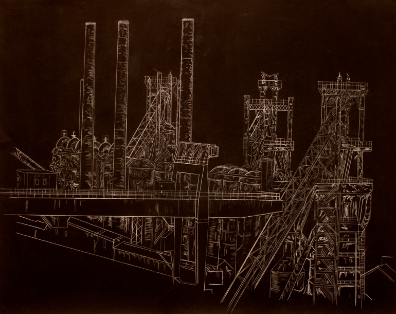 ebbw-vale-steelworks-acrylic-and-pencil-on-paper-159-x-113cm